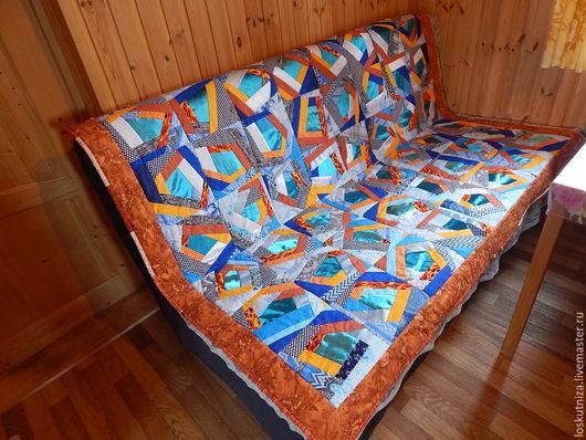 """Текстиль, ковры ручной работы. Ярмарка Мастеров - ручная работа. Купить Лоскутное одеяло-покрывало """"Лёд и пламя"""".. Handmade. Рыжий"""