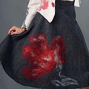 """Одежда ручной работы. Ярмарка Мастеров - ручная работа Юбка  валяная двусторонняя """"Серая с секретом"""". Handmade."""