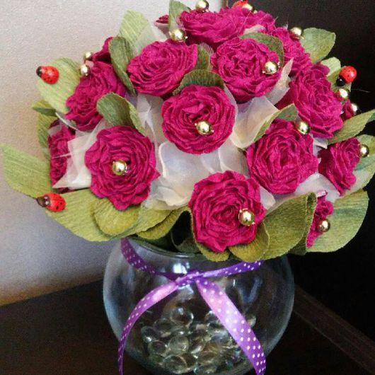 Топиарии ручной работы. Ярмарка Мастеров - ручная работа. Купить Топиарий в вазе. Handmade. Топиарий, цветы, цветы из гофробумаги