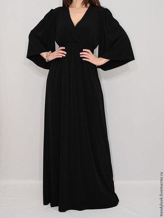 Платья ручной работы. Ярмарка Мастеров - ручная работа. Купить Длинное Платье кимоно черное платье в пол. Handmade. Черный