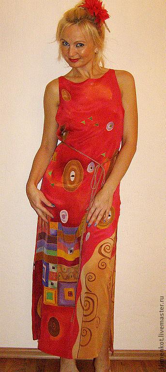 Платья ручной работы. Ярмарка Мастеров - ручная работа. Купить платье макси-  Волшебство(Климт). Handmade. Ярко-красный, платье