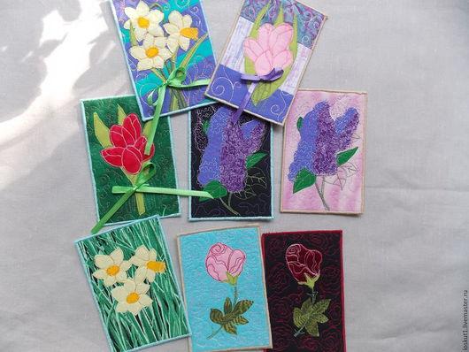 """Открытки для женщин, ручной работы. Ярмарка Мастеров - ручная работа. Купить Открытка текстильная """"Цветы"""". Handmade. Открытка, открытка для девушки"""