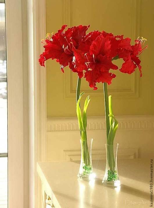 Цветы ручной работы. Ярмарка Мастеров - ручная работа. Купить Красные амариллисы. Керамическая флористика. Handmade. Ярко-красный