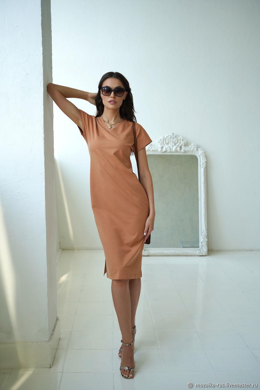 Beige dress made of Cinnamon cotton lining, loose brown, Dresses, Novosibirsk,  Фото №1