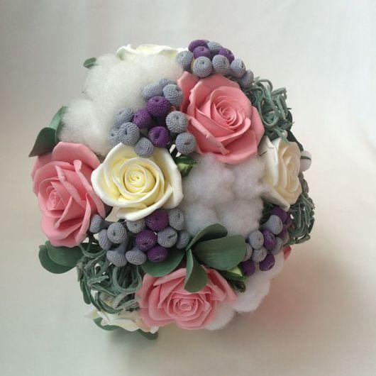 Свадебные цветы ручной работы. Ярмарка Мастеров - ручная работа. Купить Зимний букет невесты с хлопком и суккулентами. Handmade.