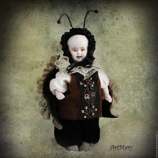 Коллекционные куклы ручной работы. Ярмарка Мастеров - ручная работа. Купить Литл Битл. Handmade. Разноцветный, антикварная головка, вискоза