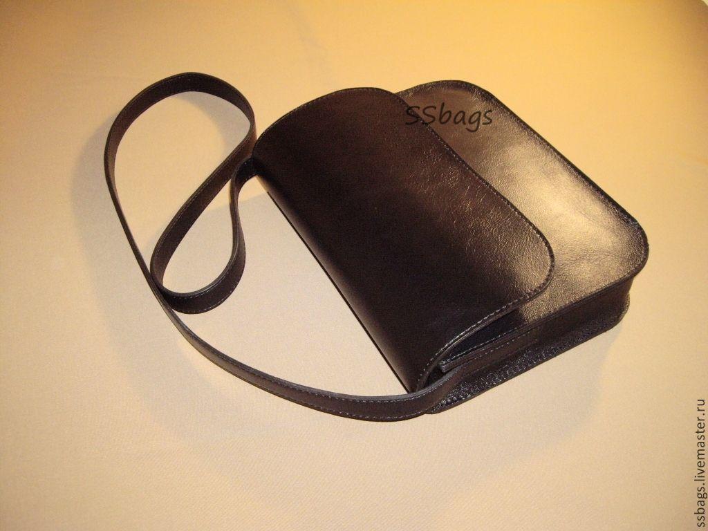 Small women's handbag made of genuine black leather, Classic Bag, St. Petersburg,  Фото №1