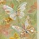 Картины цветов ручной работы. Ярмарка Мастеров - ручная работа. Купить Тресхлойная картина на шелке Изящные Бабочки. Handmade. Золотой