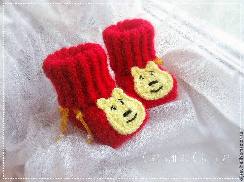 """Одежда ручной работы. Ярмарка Мастеров - ручная работа. Купить Пинетки """"Винни Пух"""". Handmade. Для детей, пинетки, для новорожденного"""