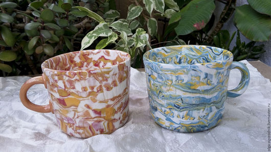 """Кружки и чашки ручной работы. Ярмарка Мастеров - ручная работа. Купить Две чашки для чая """"Пара"""". Handmade. Чашки, фарфор"""
