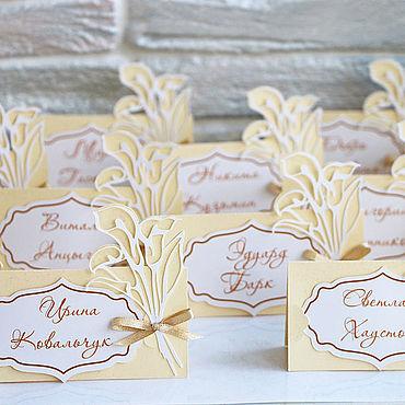 """Свадебный салон ручной работы. Ярмарка Мастеров - ручная работа """"Каллы"""" рассадочные карточки. Handmade."""