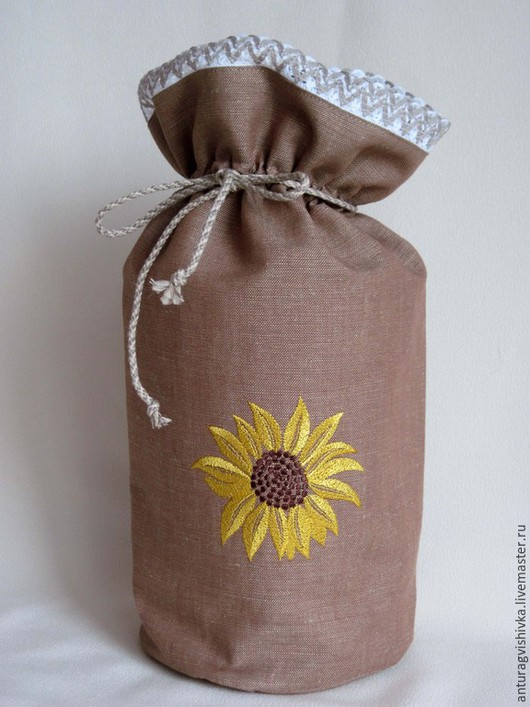 Мешочек с вышивкой Подсолнух, мешочек для хранения, Льняной мешочек, Кухня ручной работы