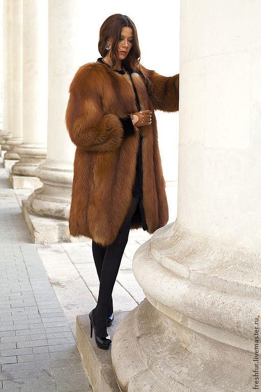 Верхняя одежда ручной работы. Ярмарка Мастеров - ручная работа. Купить шуба из красной лисы со стриженой выдрой. Handmade.