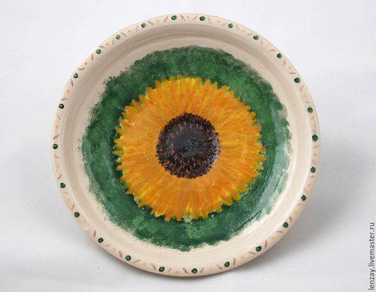 Тарелка `Подсолнух` в духе импрессионизма. Керамические цветы Елены Зайченко