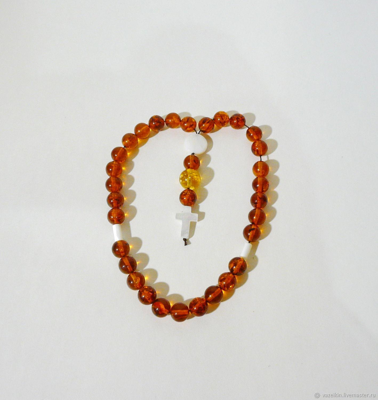 Orthodox prayer beads amber, mother-of-pearl R-365, Rosary, Svetlogorsk,  Фото №1