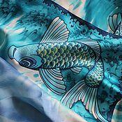 """Аксессуары ручной работы. Ярмарка Мастеров - ручная работа батик платок """"Танец рыб"""". Handmade."""