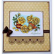 Открытки ручной работы. Ярмарка Мастеров - ручная работа Открытка с желтыми розами. Handmade.