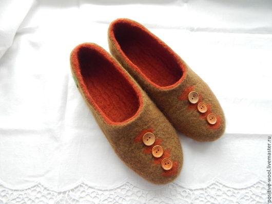 Обувь ручной работы. Ярмарка Мастеров - ручная работа. Купить Валяные тапочки. Handmade. Оливковый, купить подарок мужчине