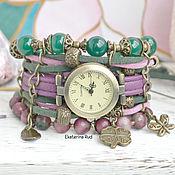 Украшения handmade. Livemaster - original item Beautiful suede women`s watch with stones