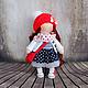 Коллекционные куклы ручной работы. Ярмарка Мастеров - ручная работа. Купить Иришка, 24см - интерьерная кукла. Handmade. Ярко-красный