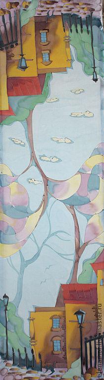 Шарфы и шарфики ручной работы. Ярмарка Мастеров - ручная работа. Купить Шарф Париж и облака. Handmade. Шарф, шелковый шарф