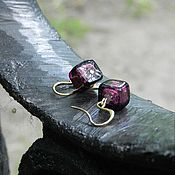 Украшения ручной работы. Ярмарка Мастеров - ручная работа Серьги с муранскими бусинами Purple. Handmade.