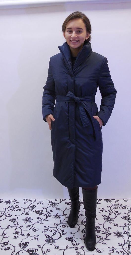 Верхняя одежда ручной работы. Ярмарка Мастеров - ручная работа. Купить Пуховое пальто Winter. Handmade. Тёмно-синий, пальто