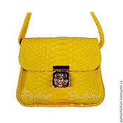 Сумки и аксессуары handmade. Livemaster - original item Barbie Python leather handbag in yellow. Handmade.