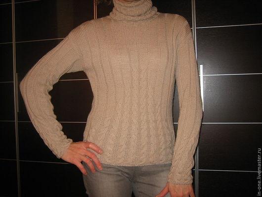 Кофты и свитера ручной работы. Ярмарка Мастеров - ручная работа. Купить бежевый свитер. Handmade. Бежевый, вязаный пуловер, водолазка