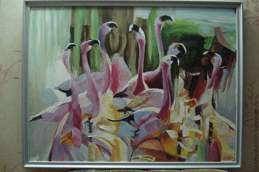 Животные ручной работы. Ярмарка Мастеров - ручная работа. Купить Фламинго. Handmade. Розовый, картина, картина в подарок, картина для интерьера