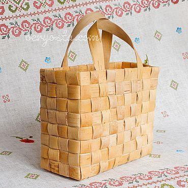 Для дома и интерьера ручной работы. Ярмарка Мастеров - ручная работа Сумка плетёная из бересты. Хозяйственная сумка с ручками. Handmade.