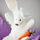 Кукольный театр ручной работы. Перчаточная кукла- Заяц с морковкой. Яна Войлок. Интернет-магазин Ярмарка Мастеров. Заяц, на руку