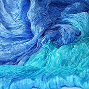 handmade. Livemaster - original item Silk scarf-stole blue with azure     handmade gift. Handmade.