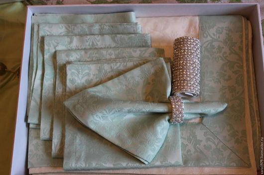 Текстиль, ковры ручной работы. Ярмарка Мастеров - ручная работа. Купить Скатерть с салфетками, кольца для салфеток. Handmade. Скатерть