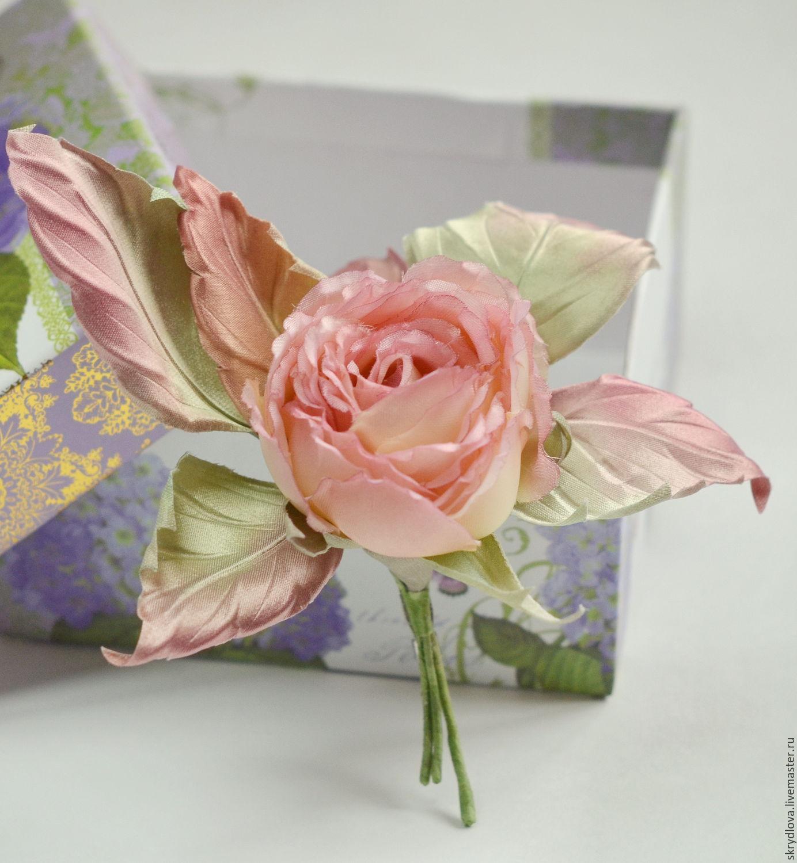 """Текстильная роза - брошь из шелка """"Розовый фламинго"""", Брошь-булавка, Люберцы,  Фото №1"""