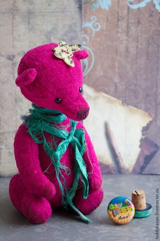 Мишки Тедди ручной работы. Ярмарка Мастеров - ручная работа. Купить Тедди мишка Lea. Handmade. Фуксия, бабочка