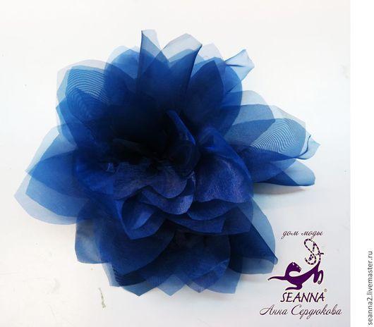 Броши ручной работы. Ярмарка Мастеров - ручная работа. Купить Брошь-зажим крупный цветок 20см  Синяя дымка в разных цветах. Handmade.