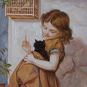 Картины и панно ручной работы. Ярмарка Мастеров - ручная работа Девочка с котенком. Handmade.