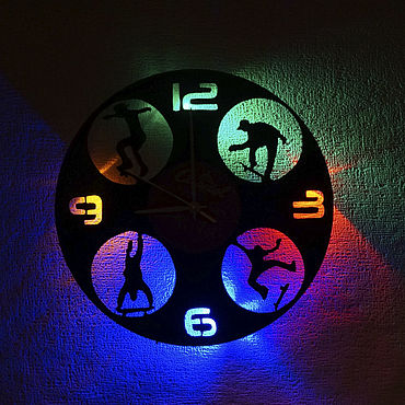 For home and interior handmade. Livemaster - original item Wall clock with LED backlight from skateboarding plate. Handmade.
