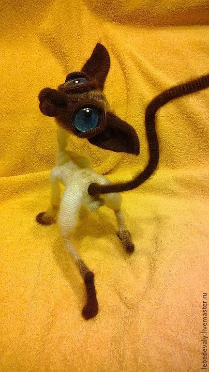 Игрушки животные, ручной работы. Ярмарка Мастеров - ручная работа. Купить Сфинкс - лысый кот сиамского окраса. Handmade. Бежевый