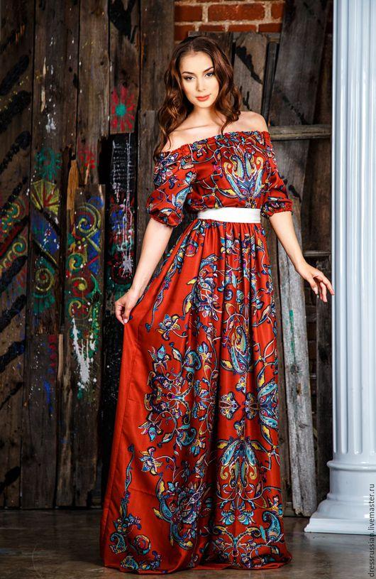 Платье в Русском стиле. Русский стиль в моде. Платье из платков. Ручная работа.Дизайнерское платье.  Сделано в Петербурге.Натуральные ткани. Высокое качество пошива.