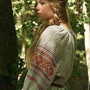 Рубаха женская льняная с прямыми поликами