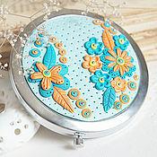 """Зеркала ручной работы. Ярмарка Мастеров - ручная работа Волшебное зеркало """"Бирюзовое солнце"""". Handmade."""