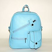 Сумки и аксессуары handmade. Livemaster - original item Backpack leather womens blue