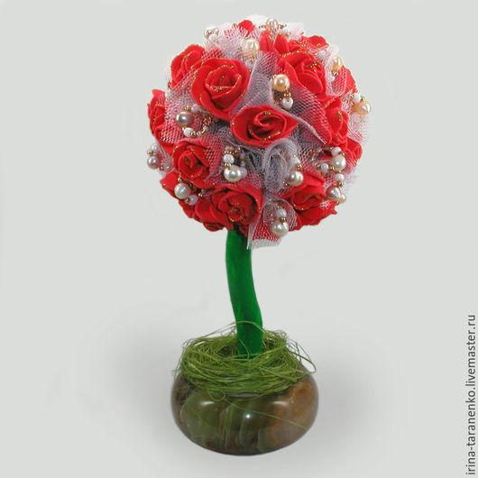 Дерево-топиарий из жемчуга `Любовное` в чаше из оникса