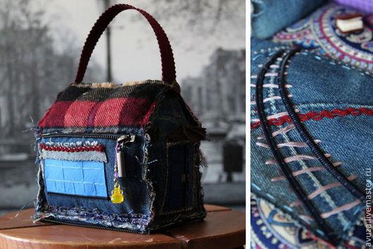 """Кукольный дом ручной работы. Ярмарка Мастеров - ручная работа. Купить Домик-сумочка """"Старый Лондон"""". Handmade. Тёмно-синий"""