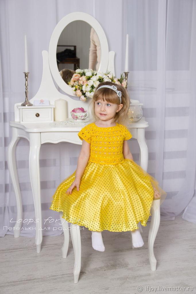 Нарядное жёлтое платье для девочки   Бусинка, Платья, Борисов,  Фото №1