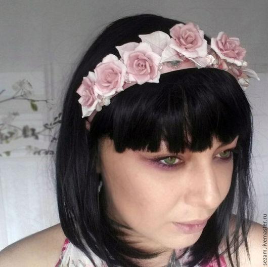 """Диадемы, обручи ручной работы. Ярмарка Мастеров - ручная работа. Купить """"Розовый сад"""" ободок для волос. Handmade. Бледно-розовый"""