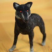 Felted Toy handmade. Livemaster - original item Felt toy Black wolf. Handmade.