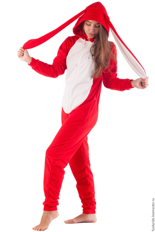 Домашний комбинезон Красный Заяц FUNKY RED BUNNY HOME SUIT, Комбинезоны, Магнитогорск,  Фото №1